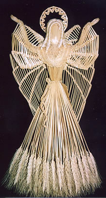 Angel constructed from stalks of wheat