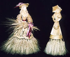 Women in bonnets made from wheat